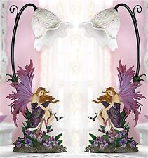 Set of 2 ** 17 3/8' Tall * ORCHID SCULPTED FAIRY TABLE DESK BEDSIDE LAMPS ** NIB