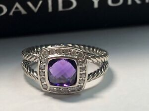 DAVID YURMAN SILVER PETITE ALBION RING , 7MM AMETHYST WITH DIAMONDS SIZE 8