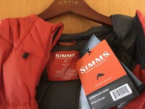 SIMMS Fishing Products DOWNstream Orange Jacket M's Large