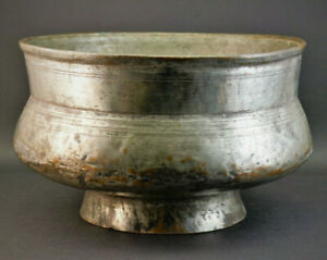 ANTIQUE 17th CENTURY SAFAVID PERSIAN HAND HAMMERED TINNED COPPER WINE BOWL