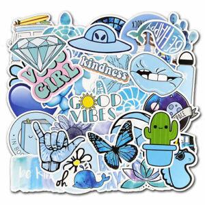 50Pcs Blue Vsco Stickers Bomb Skateboard Luggage Laptop Fridge Vinyl Decals Pack