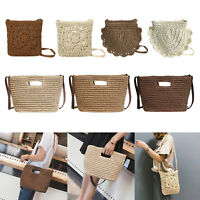 Women Shoulder Bag Messenger Beach Crochet Knitted Weave Handbag Cross-body Tote