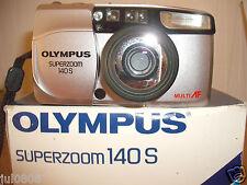 BOXED OLYMPUS SUPERZOOM 140S 35MM FILM CAMERA~38-140MM LENS~MULTI AF~TIMER 22F13