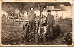 Real Photo Postcard Railroad Workers with a Sidecar~2417