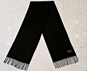 ITALY VINTAGE AUTHENTIC SOLID BLACK CASHMERE WOOL LONG MEN'S FRINGE SCARF