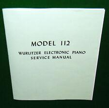 SERVICE MANUAL for WURLITZER 112 & 112A Electric Piano: Regulating, Schematic