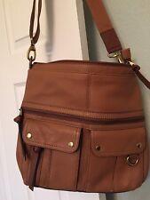 Fossil Cross Body Handbag Brown Leather Saddle Bag