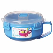 Sistema Aqua Blue Klip It Microwave Porridge to Go 850ml Breakfast Lunch Oats