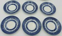 Set of 7 Vintage Churchill Blue Willow Saucers- Made in England
