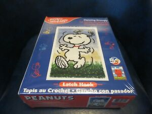 J & P COATS DANCING SNOOPY LATCH HOOK RUG SEALED & NEW IN BOX FREE SHIPPING