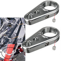 2x 1'' 25mm Chrome Frame Handlebar Clutch Cable Brake Clamp For Harley