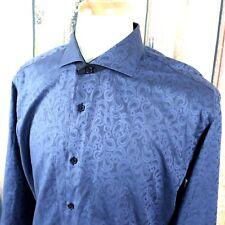 Maceoo Men's Large 4 Blue Dress Shirt Paisley Pattern L/S Spread Cutaway Collar