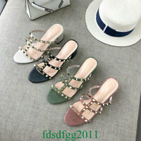 Womens Heels Real Suede Leather Rivets Sandals Slippers Pumps OL Shoes Fashion