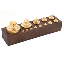 Set di 13 pesi in ottone per BILANCIA con base in legno FUNZIONANTI
