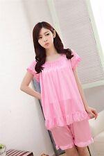 Pure Color Smooth Silk Women Girl Sleepwear Pajama Set Nightwear Shirt & Shorts