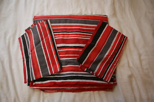Red and Grey Striped Double Duvet Set with 2x Pillow Cases