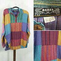 Mens Cotton Patchwork Grandad Shirt Jumper Hippie Indian Boho Retro Vintage 60s