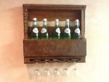 Handmade Reclaim Mini Wine Rack an glass holder Wall Mounted Dark wood Tones