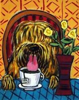 Briard dog art TILE coaster ceramic gift JSCHMETZ modern folk coffee