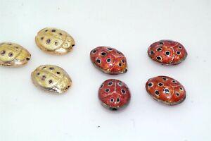 Artisan 7pc Red or Yellow Ladybug Cloissone Multi Enamel Brass Beads