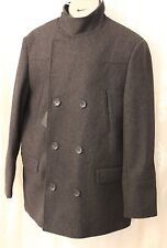 Asos Wool Funnel Neck Military Double Breast Pocket Wool Pea Jacket Coat  XL 44