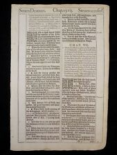 1611 KING JAMES BIBLE LEAF PAGE *BOOK OF ACTS 6:1-7:38 *7 DEACONS / STEVEN * VGC