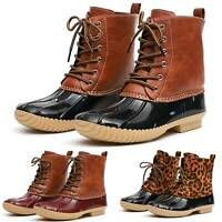 Women Waterproof Rubber Skimmers Duck Boots Lace Up Rain Snow Mid Calf Shoe Szie