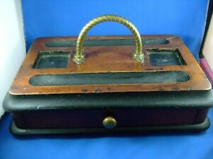 Antique Victorian Wooden Inkwell stand. / Desk Tidy. with drawer.