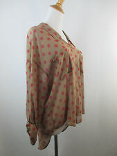 A36 *NEW* BROWN FREE PEOPLE WOMENS MAUVE DOTS HIGH LOW SHEER BUTTON SHIRT TOP S