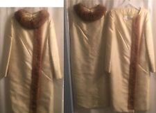 MINT Princess REAL MINK Lined SILK DUPIONI Vintage 1950 COAT & DRESS SUIT XS S