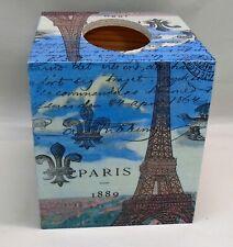 Handmade Decoupage Wood Tissue Box Cover, Paris, Eiffel Tower