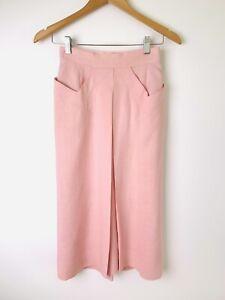 Vintage 1930s Skirt Baby Pink Lemonade Linen Pockets Front Pleat Size XS / S