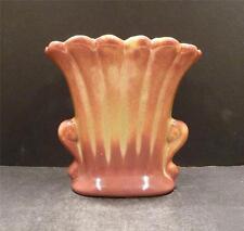 "Vintage Nebraska Boys Town Gloss Orange and Yellow Fan Vase - 5 1/2"" -  MINT"