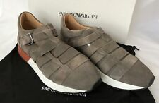NIB $525 Emporio Armani Men's Suede Loafer Sneakers Brown 10 US X4L039 Spain