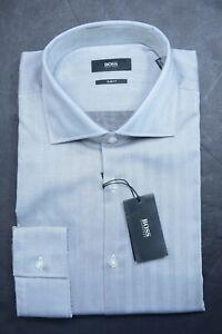 Hugo Boss Men's Prince Slim Fit Med Gray Cotton Dress Shirt 39 15.5
