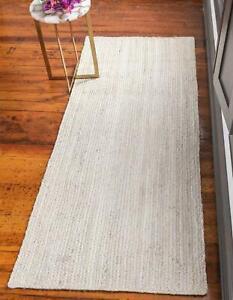 Rug Runner Braided Jute White Rug Handmade modern living area carpet decor rugs