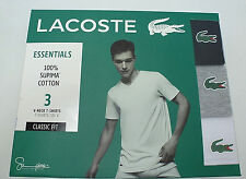 NEW 3 Pack LACOSTE Men's Essentials Cotton V Neck T-Shirts Black/Gray/White Sz S