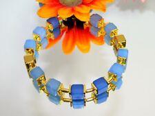 TRAUM  WÜRFEL ARMBAND  verschiedene  blautöne  Hämatit Gold 070c