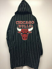 Rare Vintage Starter Chicago Bulls Spellout Pinstripe Hooded Stadium Jacket L/XL