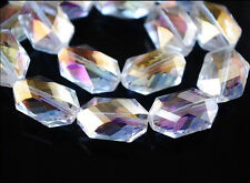 10pcs Clear AB Glass Crystal Oval Hexagon Beads 18x12mm Spacer Jewelry Findings