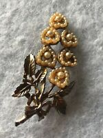 1950s Faux Pearl Brooch Flower Hearts Vintage Retro Jewellery Jewelry Floral Old