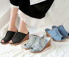 Summer Slippers Women Wedge Denim Shoes Ladies Casual Jeans Sandals Slope Heels