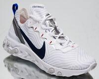 Nike React Element 55 Men's White Midnight Navy Athletic Lifestyle Sneaker Shoes