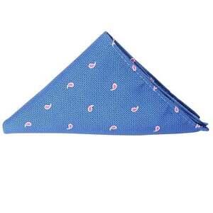 Blue Mini Paisley Pocket Square Wedding Handkerchief