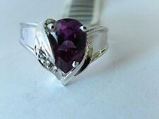 14K White Gold 1.50CT Brazilian Amethyst & VS Diamond Gorgeous Solitaire Ring