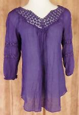 NESLAY~Paris~Sz L~Purple~3/4 Sleeve~Open Embroidered~Peasant Top