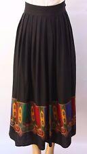 Vtg 90s Perry Ellis Portfolio Long Pleated Silk Wool Skirt Black Mid-Calf Sz 10
