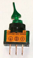SPST Lighted Toggle Sw 20 AMP @ 12 VDC Green ASW101-G