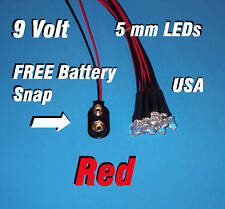 10 x LED - 5mm PRE WIRED LEDS 9 VOLT RED 9V USA