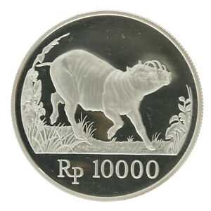 Indonesia - Silver 10 000 Rupiah Coin - 'Wildlife: Babi Rusa' - 1987 - Proof